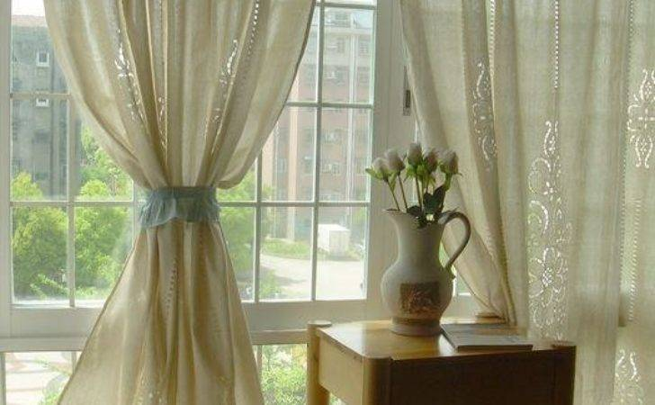 Tab Top French Country Cotton Linen Crochet Lace Curtain
