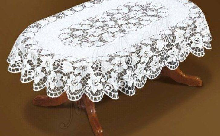Tablecloth Lace Large Oval White Cream