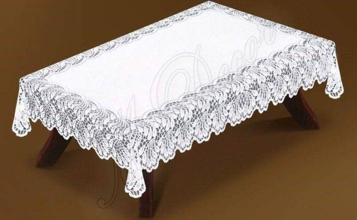 Tablecloth Lace Large Rectangular White Cream
