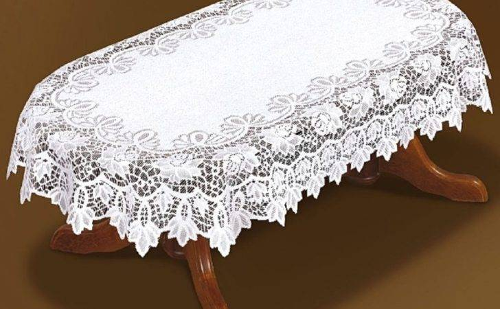 Tablecloth Large Oval Lace White New