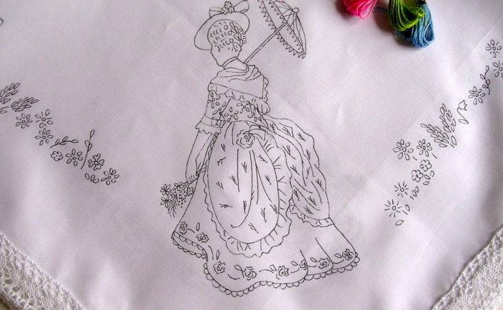 Tablecloth Print Embroider Lady Parasol Lace Edge