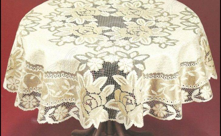 Tablecloth Round Lace Cream Dark Gold New