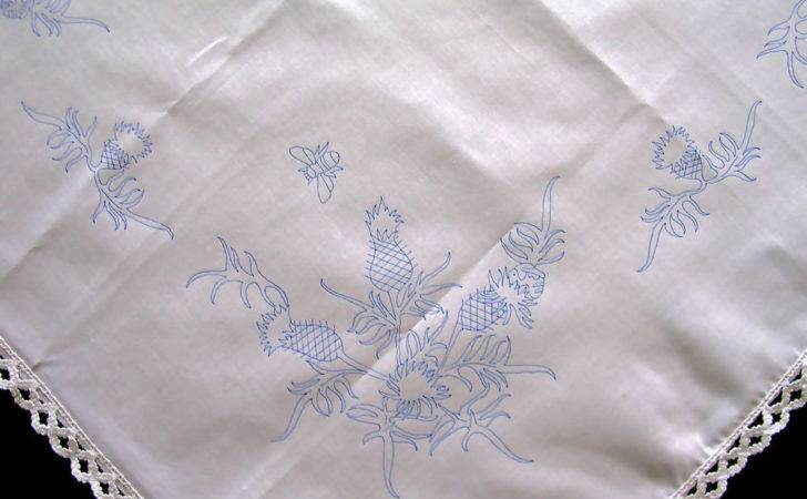 Tablecloth Scottish Thistle Embroider Cotton Lace