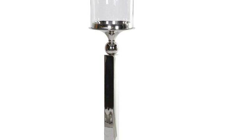 Tall Contemporary Nickel Hurricane Lamp Mulberry Moon