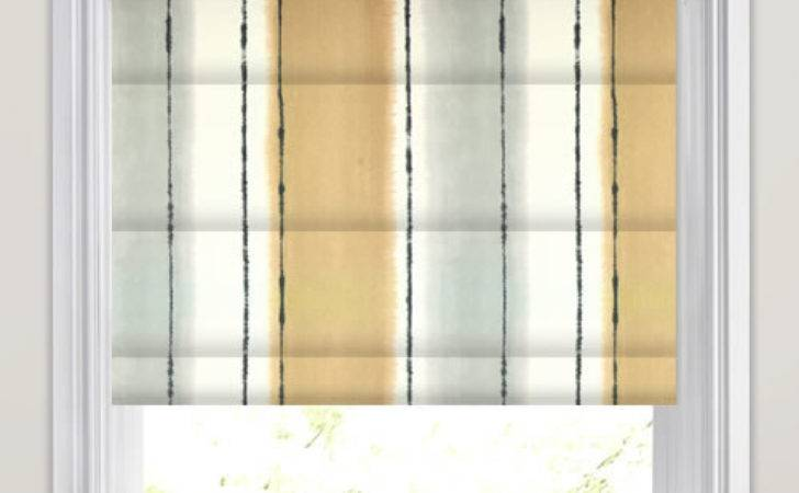 Taupe Grey White Broad Striped Roman Blinds