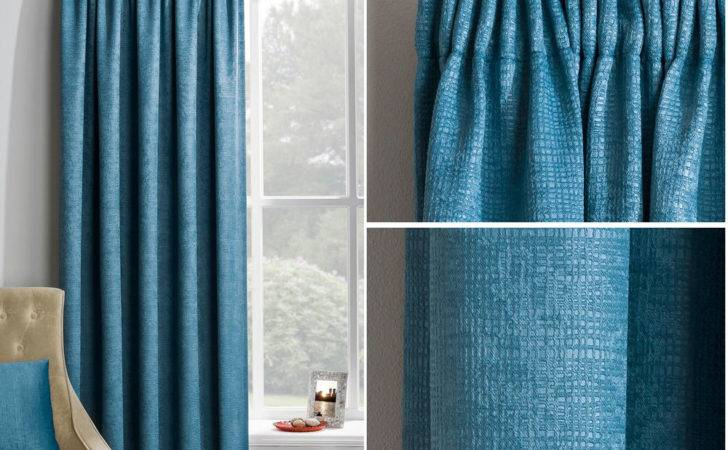 Teal Blue Thermal Blackout Ready Made Curtains Pencil