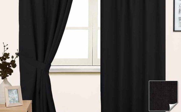 Thermal Blackout Lined Plain Black Pencil Pleat Curtains