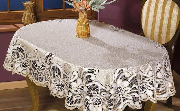 Thick Lace Tablecloth Natural Golden Beige Oval Quality