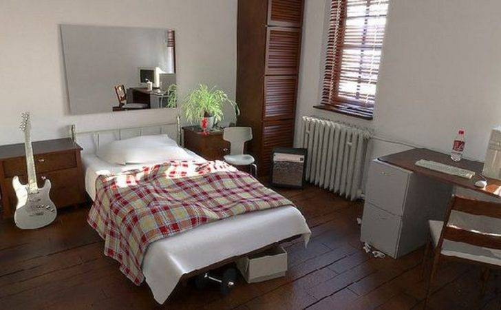 Tidy Bedroom White Bed Red Bige Quilt Wooden Floor