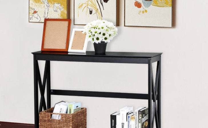 Tier Black Console Table Accent Tables Storage