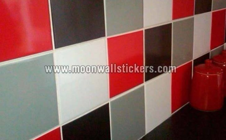 Tile Stickers Red Black Colors