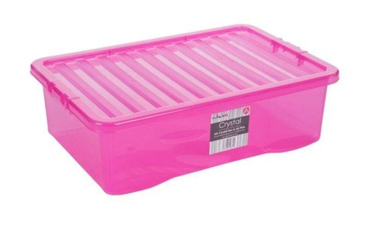 Tint Pink Crystal Storage Box Lid Stackable Underbed
