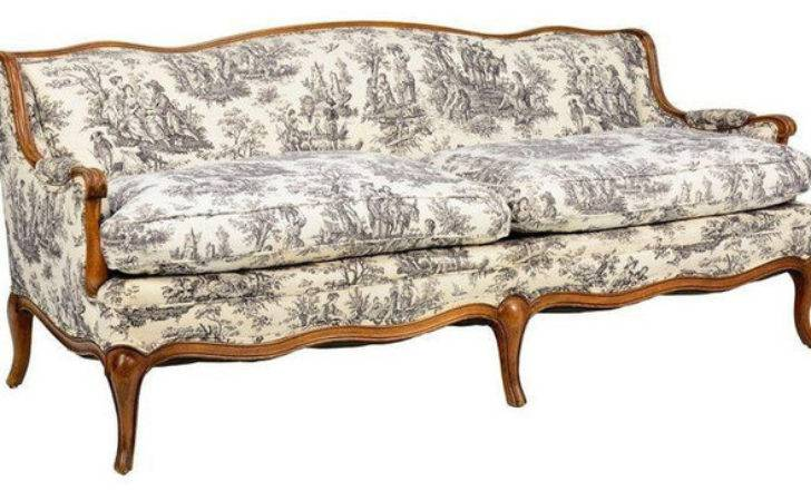 Toile Jouy French Provincial Style Sofa