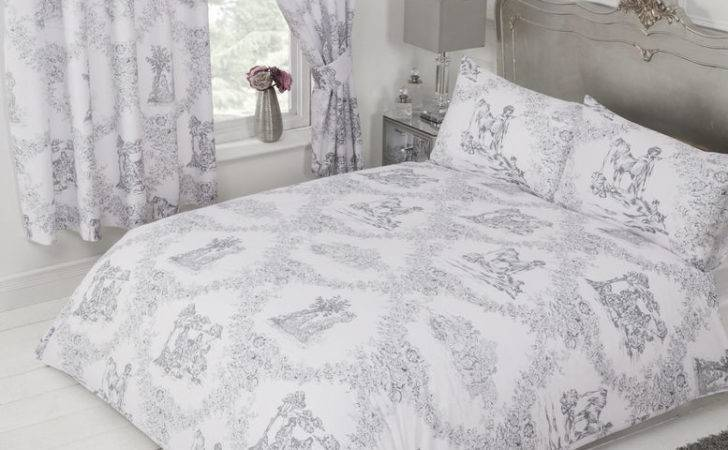 Toile Jouy Grey White Floral Country Horse Dog Charcoal