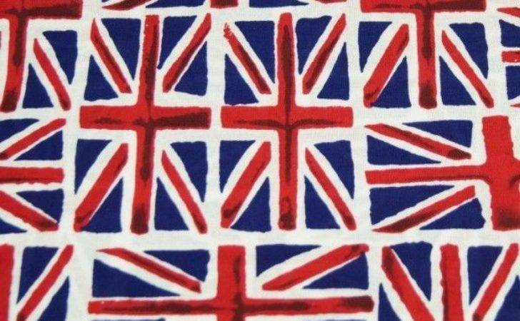 Tossed Union Jack Flags British Cotton Fabric Cms