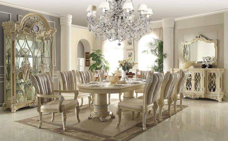Traditional Luxury Dining Table Beige Classic
