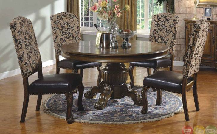 Traditional Round Walnut Finish Formal Dining Set