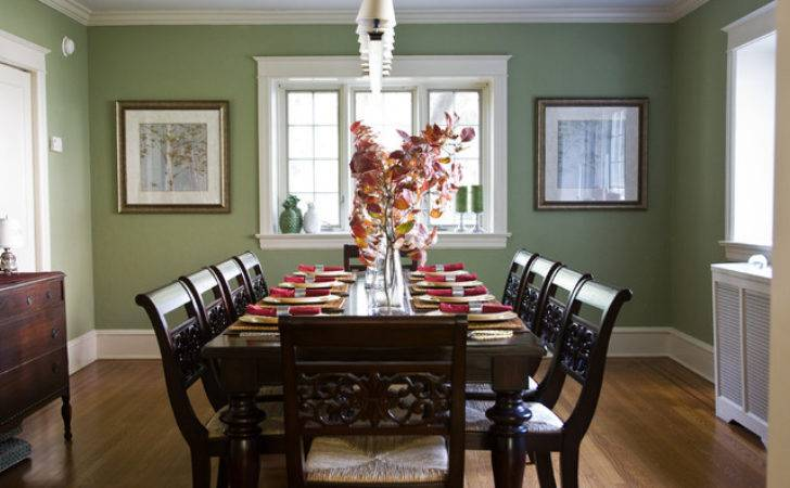 Traditional Sage Cranberry Dining Room