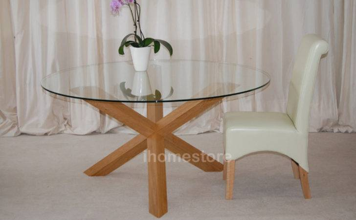 Trio Solid Oak Glass Round Dining Table Furniture Ebay