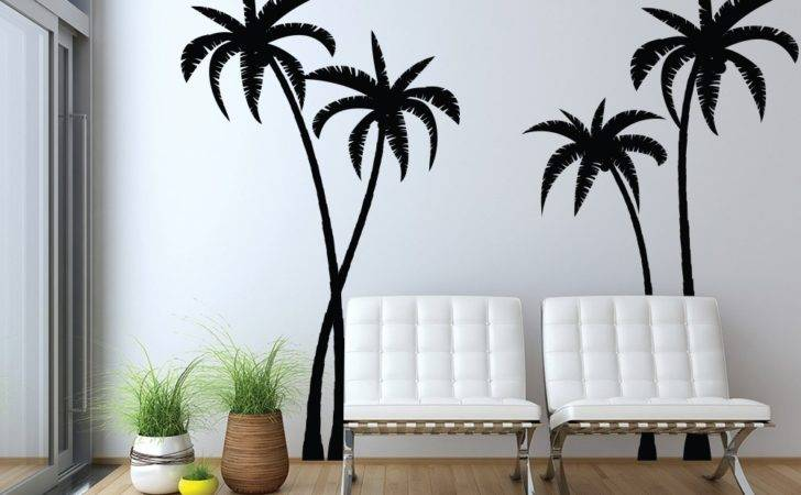 Tropical Palm Trees Silhouette Wall Decals Graphic Vinyl