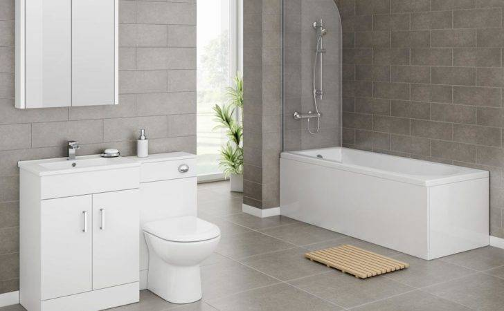 Turin Gloss White Vanity Unit Suite Square Single Ended