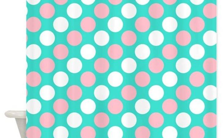 Turquoise White Pink Polka Dots Shower Curtain