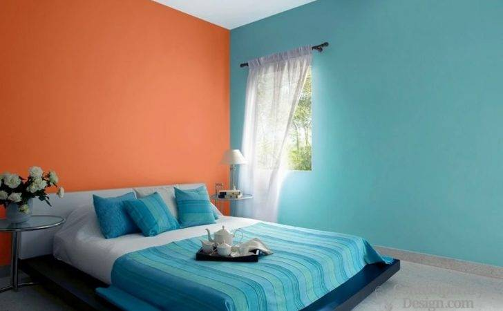 Two Colour Combination Bedroom Walls