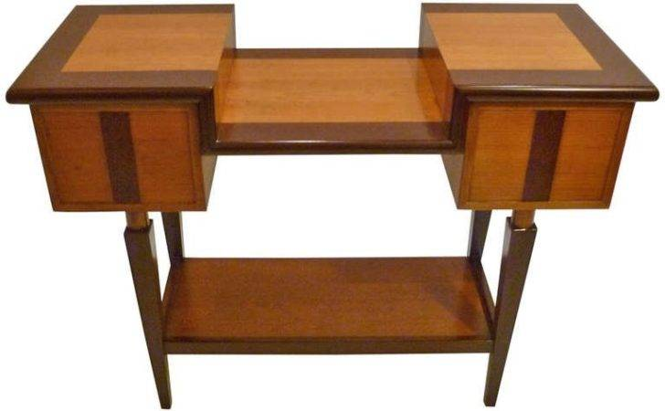 Unique Architectural Mixed Wood Console Table Stdibs