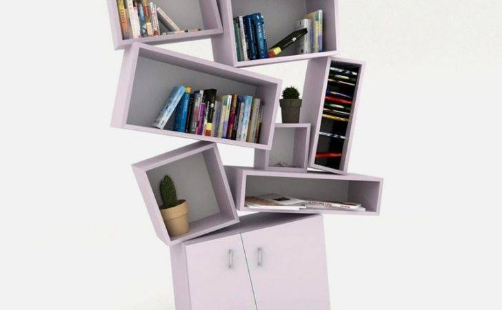 Unusual Bookcase Chaotical Design Tectonic