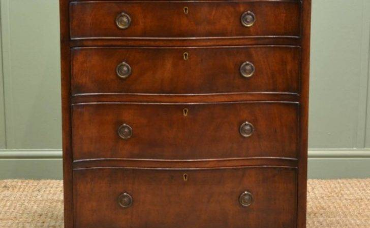 Unusual Edwardian Mahogany Serpentine Antique Small Chest