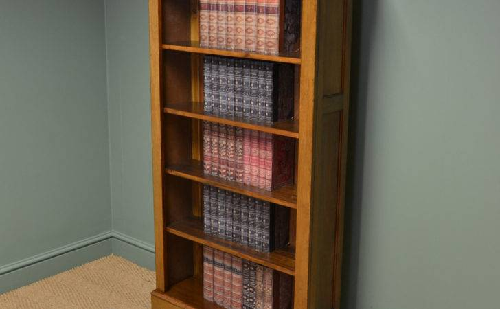 Unusual Edwardian Walnut Tall Antique Open Bookcase