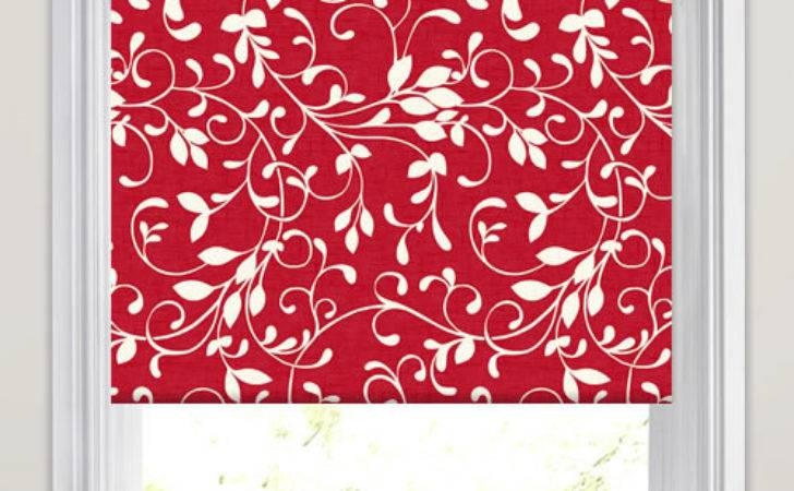 Vibrant Ruby Red White Swirling Leaves Patterned Roller