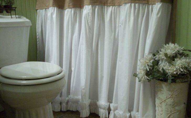 Vintage Bathroom Shabby Chic Burlap Shower Curtain