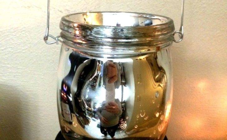 Vintage Charm Jam Jar Mercury Glass Tall Lantern