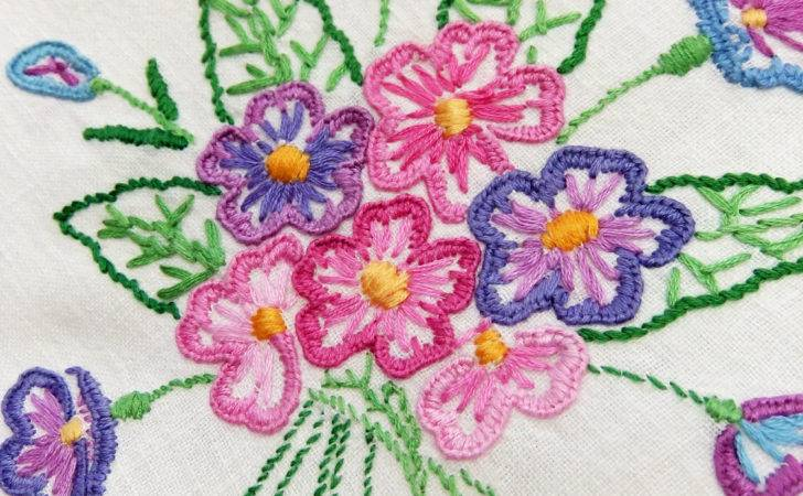Vintage Embroidered Tablecloth Hand