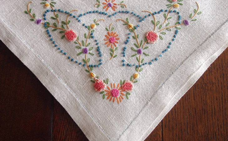 Vintage Linen Tablecloth Hand Embroidered