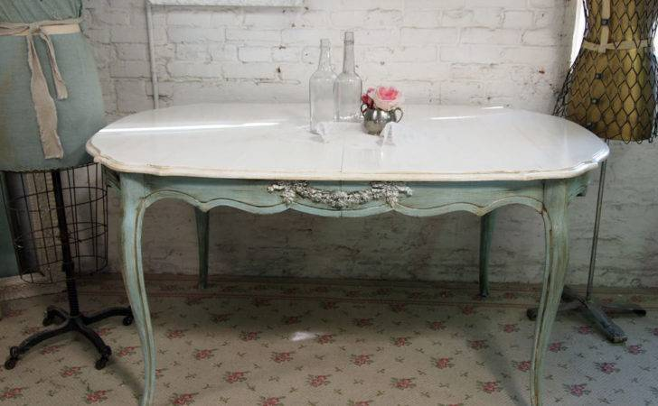 Vintage Painted Cottage Chic Shabby Aqua Dining Table