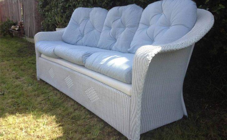 Vintage Retro Style White Cane Wicker Couch Seater Sofa
