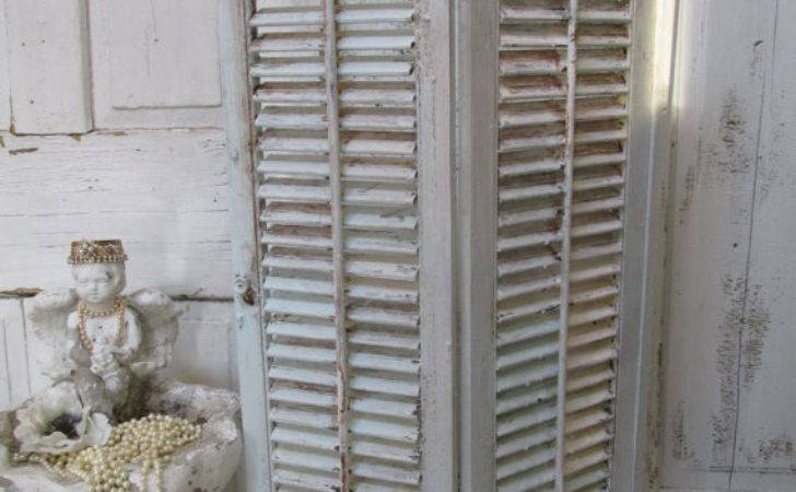 Vintage Shabby Chic Wood Shutters Large Hand Painted