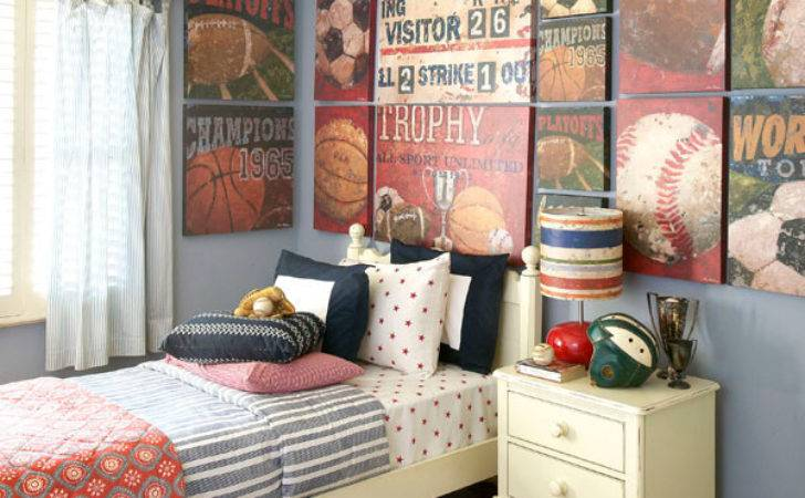 Vintage Sports Themed Boy Bedroom Traditional