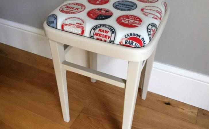 Vintage Wooden Kitchen Stool Painted Cream Delivery Quote