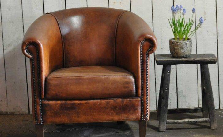 Vintage Worn French Leather Club Chair Arms