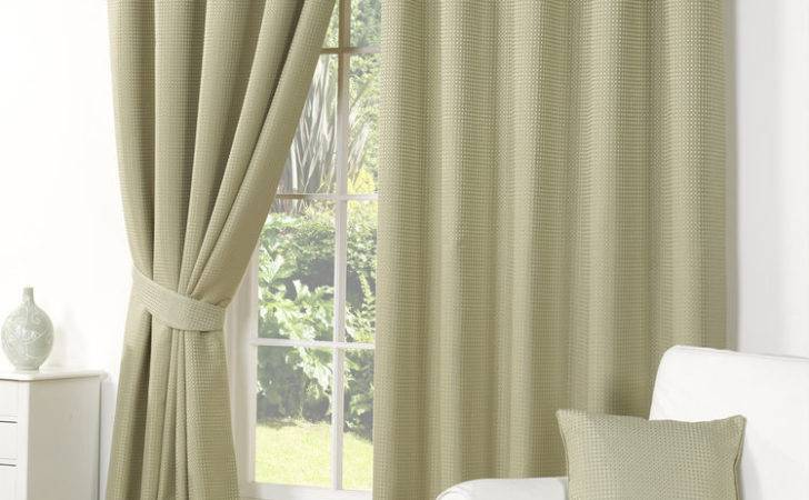 Waffle Effect Green Curtains Luxury Ready Made Lined