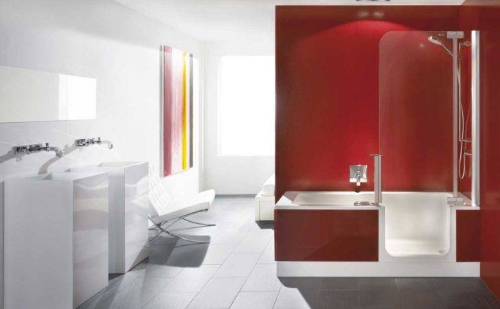 Walk Tubs Shower Combo Red White Colors Home