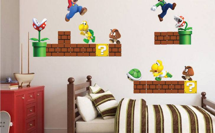 Wall Decal Awesome Mario Brothers Decals Giant Super