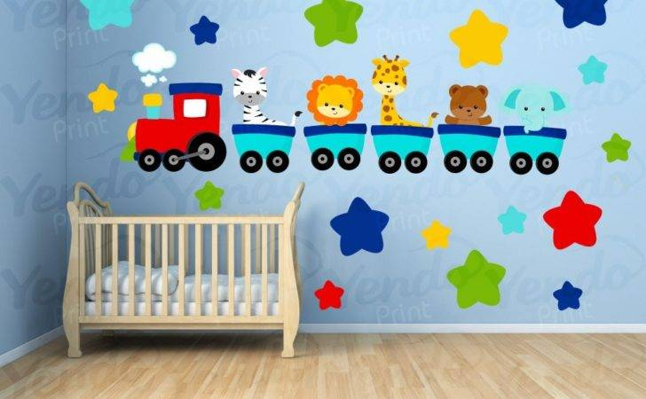 Wall Decals Kids Bedroom Animal Train Decal