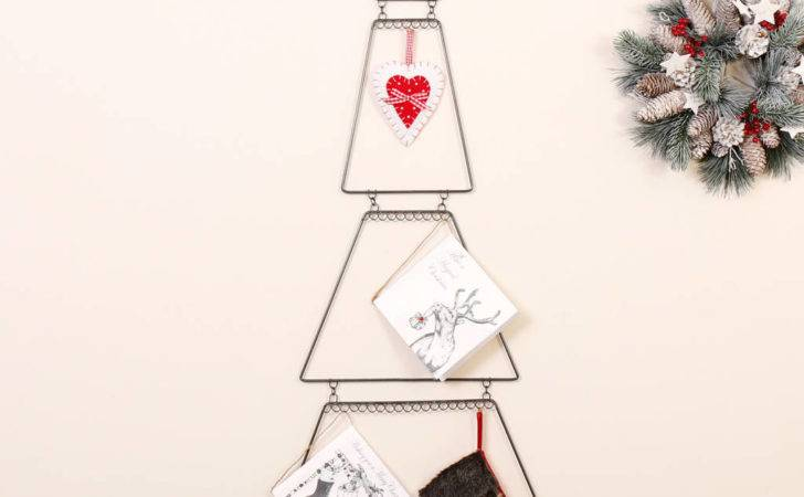 Wall Mount Wire Christmas Tree Card Holder Dibor