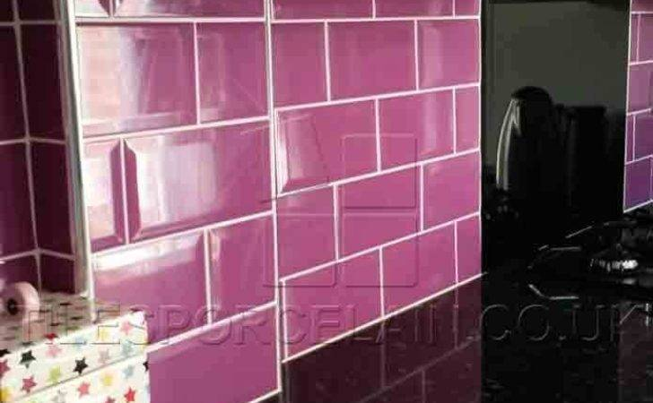 Wall Tiles Purple Brick Effect Ebay