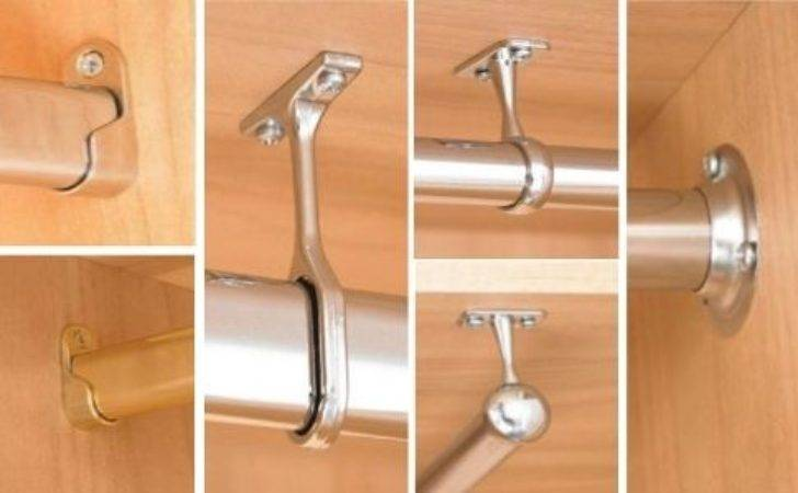 Wardrobe Rail Fittings Oval Round Tube End Centre