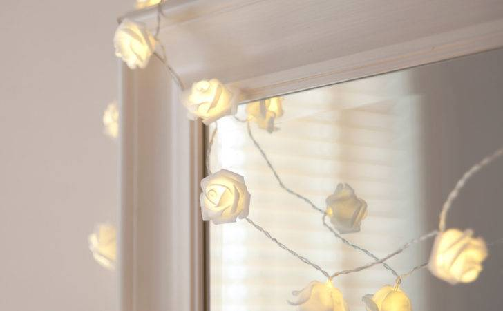 Warm White Led Rose Fairy Lights Clear Cable